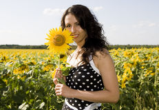 Girl. Portrait of cute girl with sunflower Stock Image