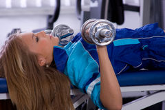 Girl. Occupation by sport, girl in atheletic common-room Royalty Free Stock Photography