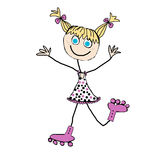 Girl. Little blond girl with pink roller skates Stock Photos