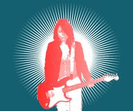 About a girl. An illustration of a girl and her guitar Royalty Free Stock Image