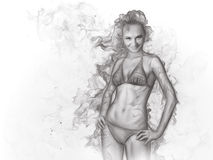 Girl. In bikini. Smoke effect Royalty Free Stock Image