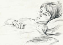 Girl. Young girl study, hand drawing picture Royalty Free Stock Photography