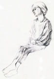 Girl. Hand drawing picture, pencil, little and young girl Stock Images