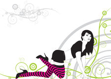The girl. In striped stockings on an abstract background Royalty Free Stock Photos