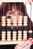 The girl and abacus Stock Image