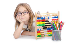 Girl with abacus on white stock image