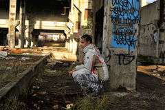 Girl in abandoned industrial building Royalty Free Stock Photography