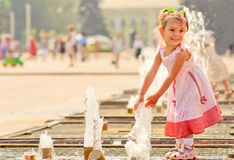 Free Girl About Fountain Royalty Free Stock Photos - 6137428