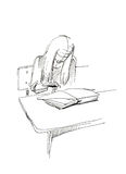 Girl above a book. Image of girl above a book sitting after a school desk stock illustration