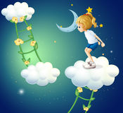 A girl above the clouds with a ladder plant Royalty Free Stock Photography