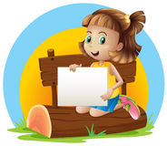 A girl above a log holding an empty signage. Illustration of a girl above a log holding an empty signage on a white background vector illustration