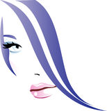 Girl abstract. Beautiful girl with purple hair Stock Photo