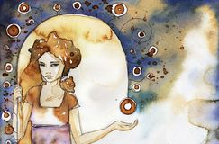 girl on an abstract background royalty free illustration