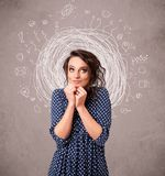 girl with abstract circular doodle lines and icons Stock Photo