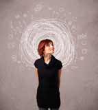 Girl with abstract circular doodle lines and icons Royalty Free Stock Images