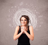 Girl with abstract circular doodle lines and icons Stock Image