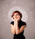 Girl with abstract circular doodle lines and icons Stock Photography