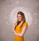 Girl with abstract circular doodle lines and icons Stock Images