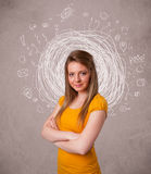 girl with abstract circular doodle lines and icons Royalty Free Stock Photography