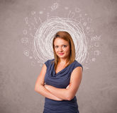 Girl with abstract circular doodle lines and icons Royalty Free Stock Photo