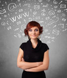 Girl with abstract white media icon doodles Stock Photo