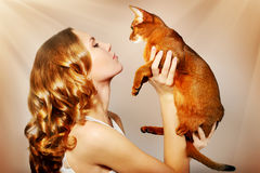 Girl with Abyssinian cat. On light background royalty free stock photography