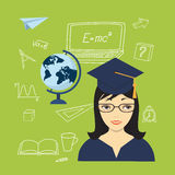 Girl in the academic cap, globe and hand drawn icons Stock Photo