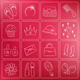 Girl Accessories Chalky Doodles Stock Photo