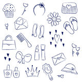 Girl Accessories Chalky Doodles Royalty Free Stock Photography