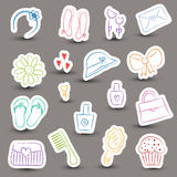 Girl accessories chalky doodles Stock Photography