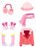 Girl accessories winter set Stock Photos