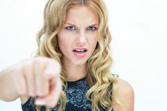 Girl Accusing with finger Royalty Free Stock Image