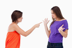 Girl accusing her friend Royalty Free Stock Images