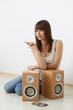 Girl and acoustic dynamics Stock Photo