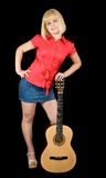 Girl with acoustic guitar Stock Photography