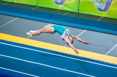 The girl on the acrobatic track Stock Photo
