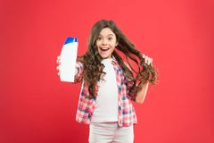 Girl active kid with long hair. Dry shampoo. Easy tips making hairstyle for kids. Strong and healthy hair concept. Long. Lasting freshness. Fresh it up. Small royalty free stock images