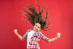 Free Girl Active Kid With Long Hair. Dry Shampoo. Easy Tips Making Hairstyle For Kids. Strong And Healthy Hair Concept. Long Stock Image - 149504471