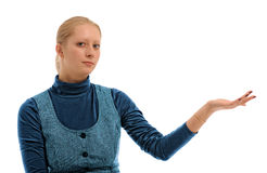 Girl with ad gesture Stock Images