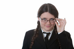 Girl adjusts glasses Royalty Free Stock Photography