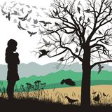 A girl admires the birds. Illustrations girl looks at a tree full of birds Stock Photography