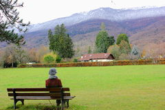 the girl admires the view of the mountains Royalty Free Stock Images
