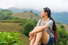 Girl admiring rice terrace scenery Royalty Free Stock Images