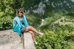 Girl admiring view of the Tara River Canyon. Stock Photos