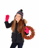 Girl with advents wreath. Stock Photo