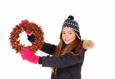 Girl with advents wreath Royalty Free Stock Image