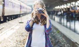 Girl Adventure Hangout Traveling Holiday Photography Concept Stock Image