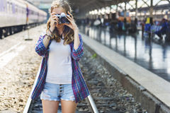 Girl Adventure Hangout Traveling Holiday Photography Concept Royalty Free Stock Photography