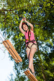 Girl in adventure park Royalty Free Stock Photography
