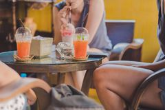 Girl adventurers have a great time in the coffee shop. royalty free stock photography